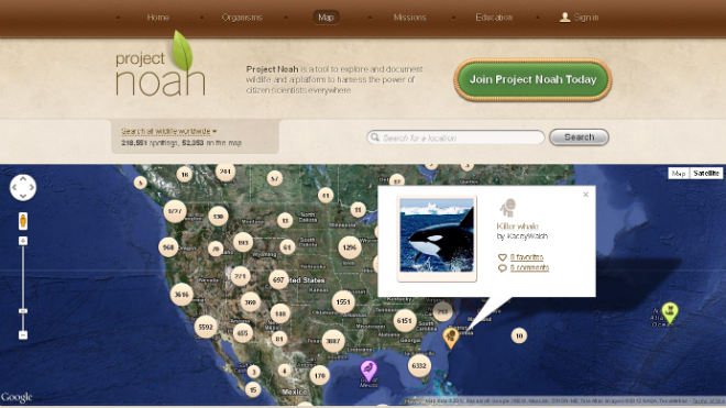 Project Noah Map