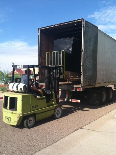 Unloading the trucks